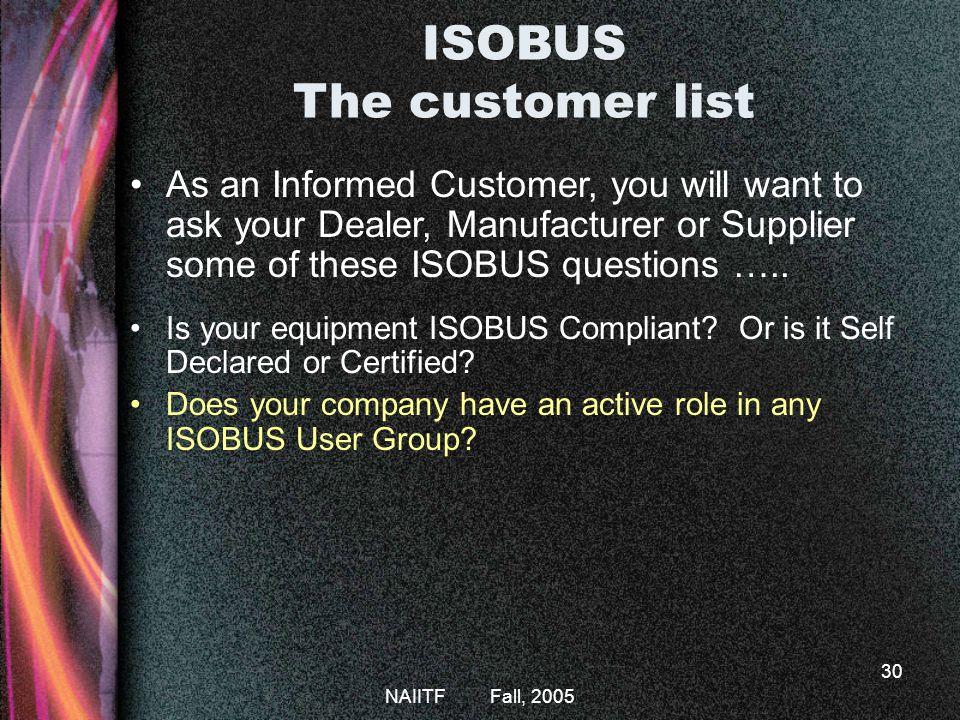 ISOBUS The customer list