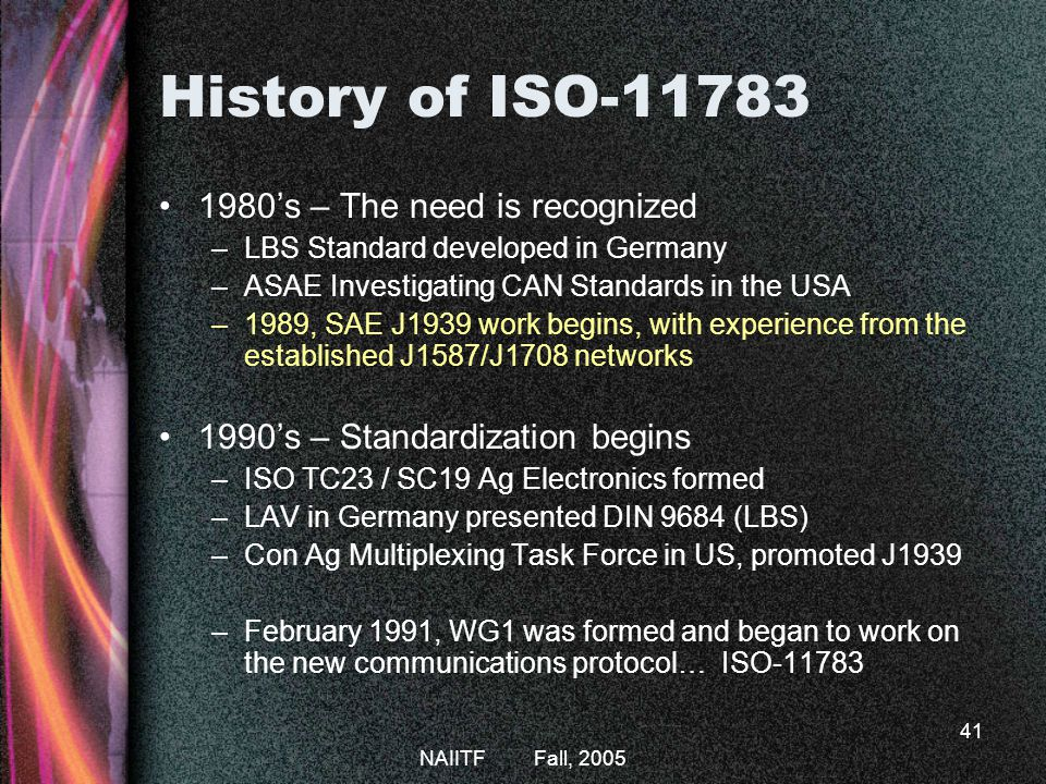 History of ISO-11783 1980's – The need is recognized