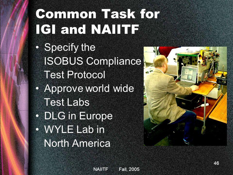 Common Task for IGI and NAIITF