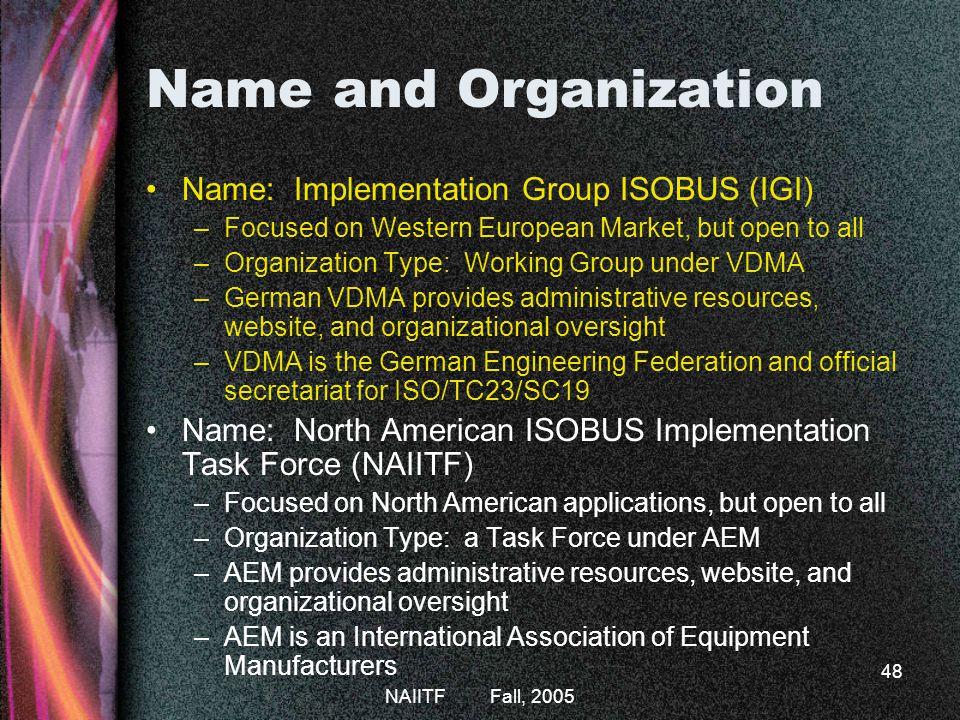Name and Organization Name: Implementation Group ISOBUS (IGI)