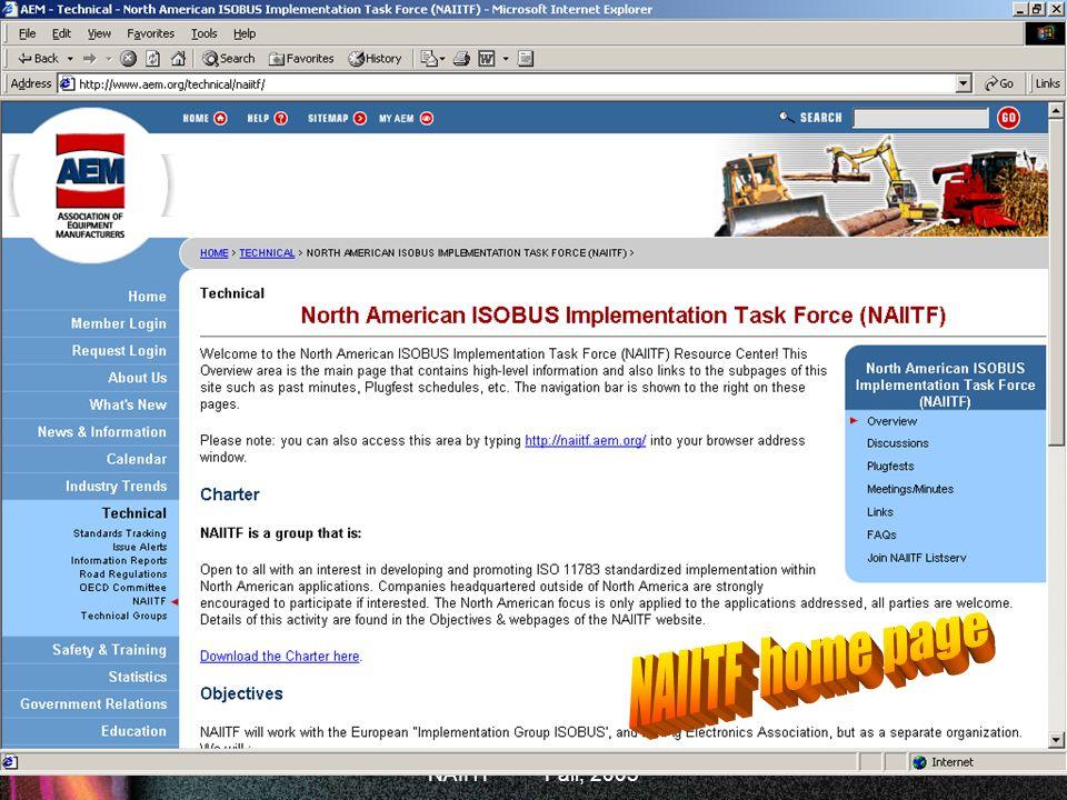 ISOBUS Fall, 2005 NAIITF home page NAIITF Fall, 2005