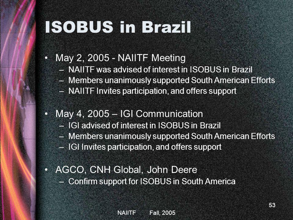 ISOBUS in Brazil May 2, 2005 - NAIITF Meeting