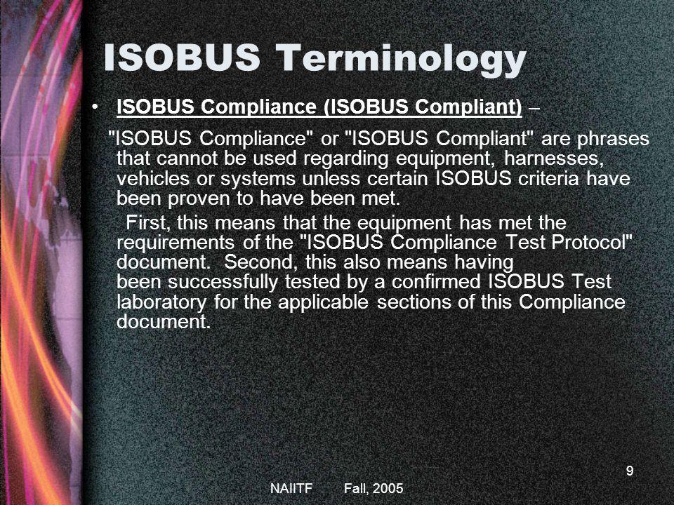 ISOBUS Terminology ISOBUS Compliance (ISOBUS Compliant) –