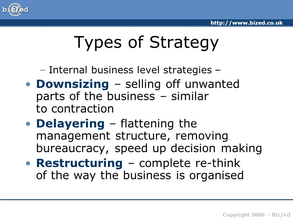 Types of Strategy Internal business level strategies – Downsizing – selling off unwanted parts of the business – similar to contraction.