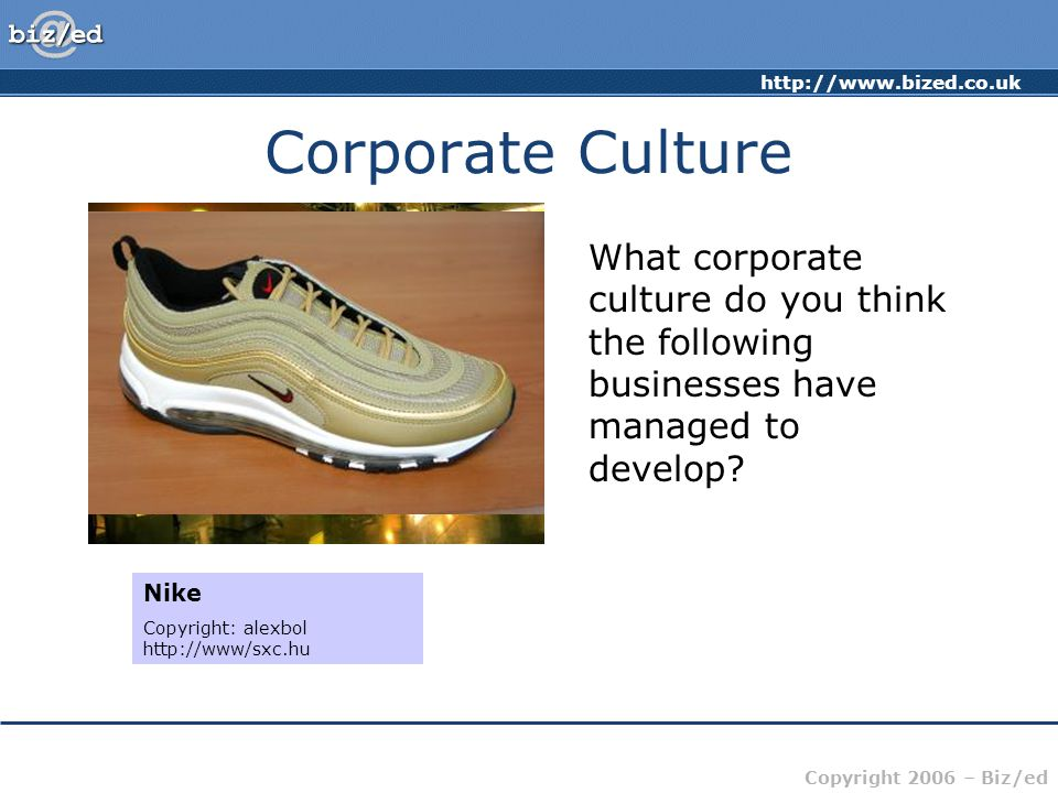 Corporate Culture What corporate culture do you think the following businesses have managed to develop