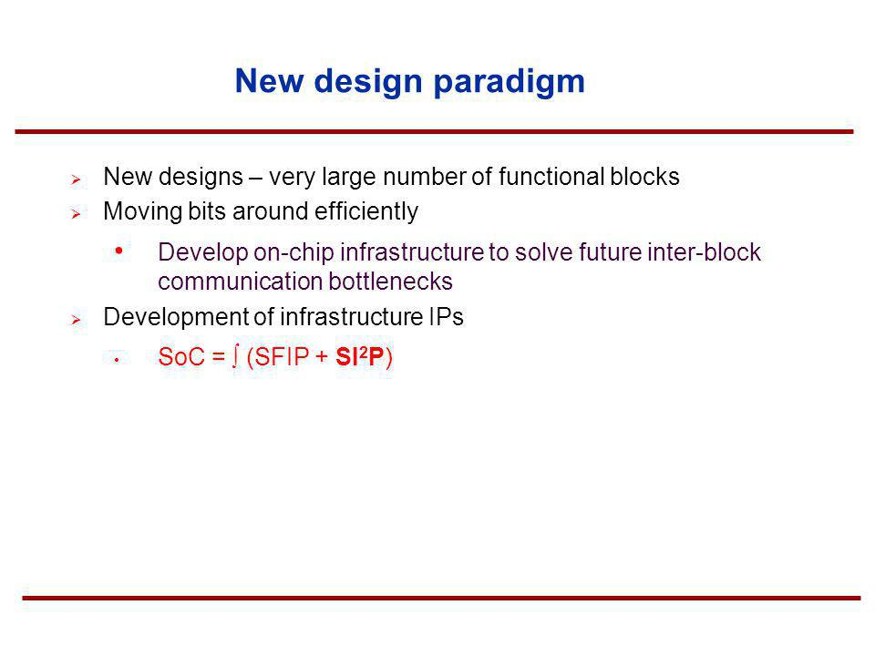 New design paradigm New designs – very large number of functional blocks. Moving bits around efficiently.