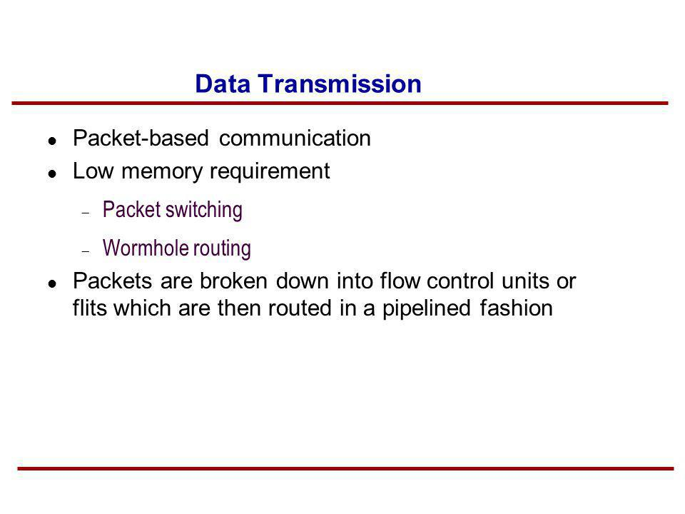 Data Transmission Packet-based communication Low memory requirement