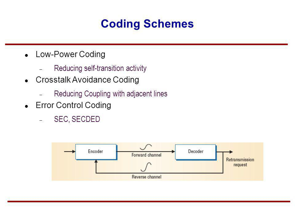 Coding Schemes Low-Power Coding Reducing self-transition activity