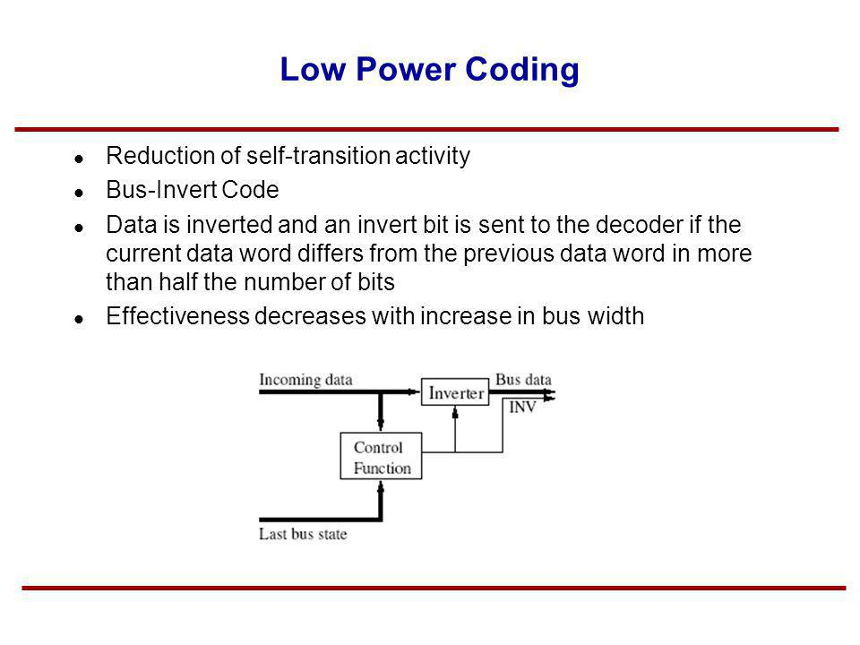 Low Power Coding Reduction of self-transition activity Bus-Invert Code