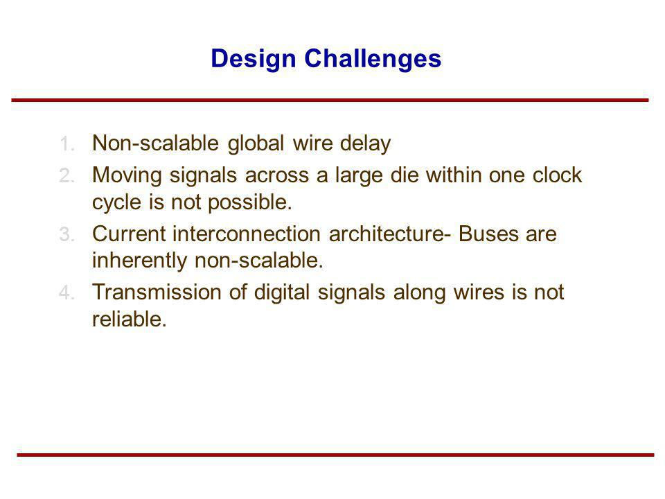 Design Challenges Non-scalable global wire delay