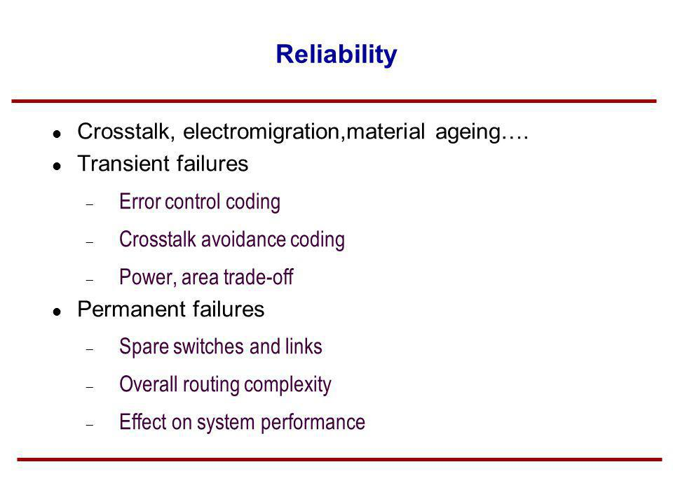 Reliability Crosstalk, electromigration,material ageing….