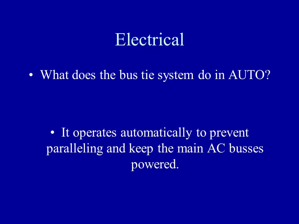 What does the bus tie system do in AUTO