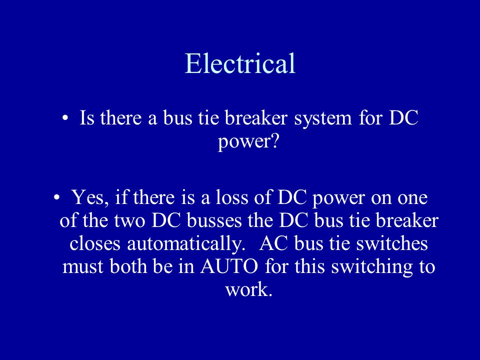 Is there a bus tie breaker system for DC power
