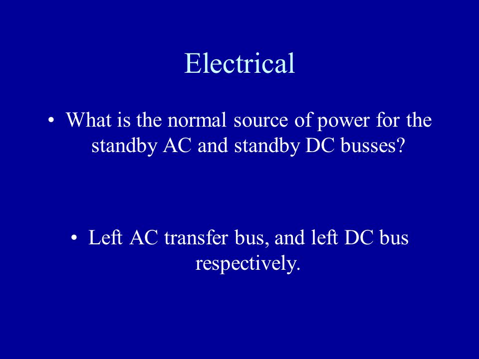 Left AC transfer bus, and left DC bus respectively.