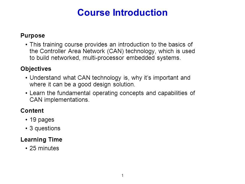 Course Introduction Purpose