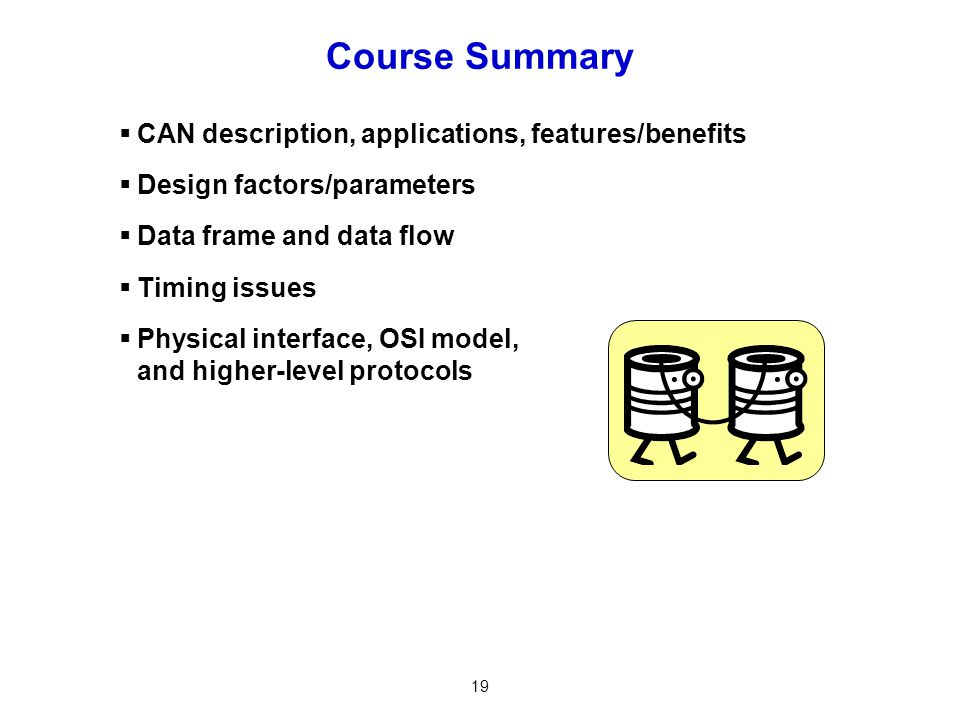 Course Summary CAN description, applications, features/benefits