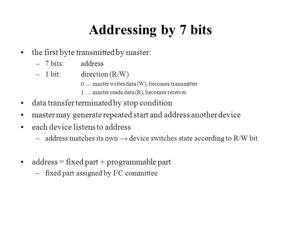 Addressing by 7 bits the first byte transmitted by master: