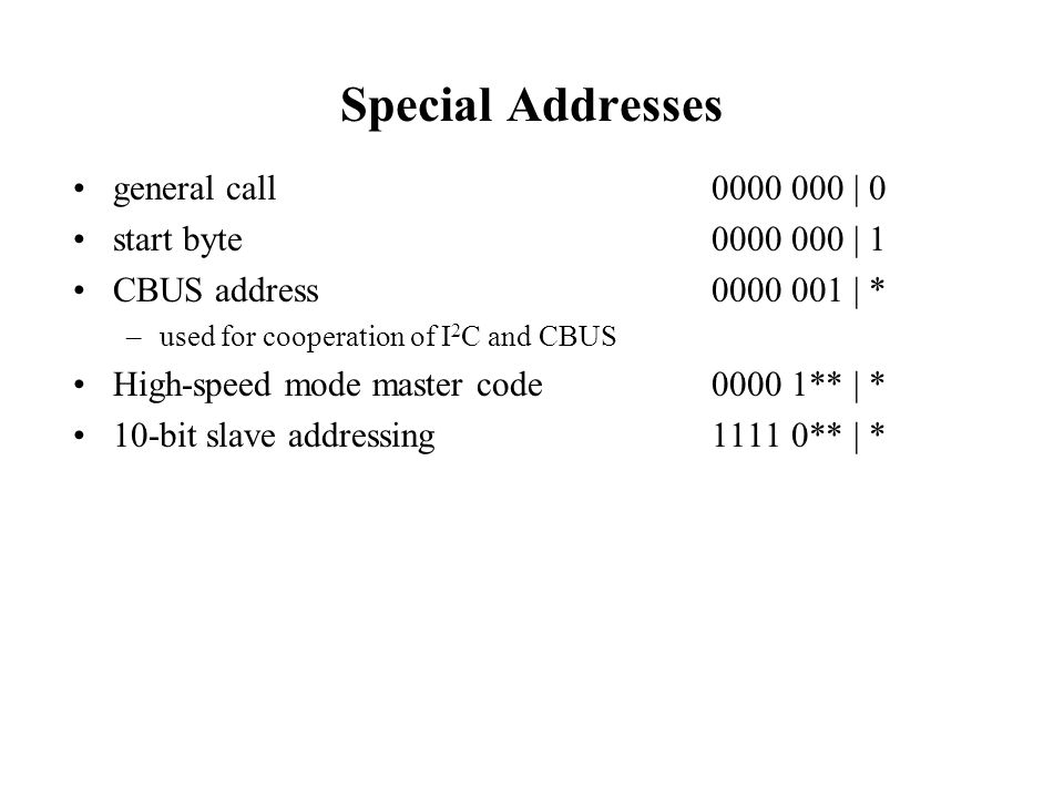 Special Addresses general call 0000 000 | 0 start byte 0000 000 | 1