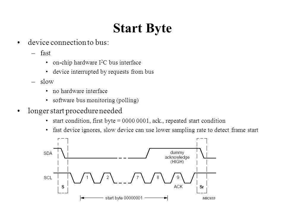 Start Byte device connection to bus: longer start procedure needed