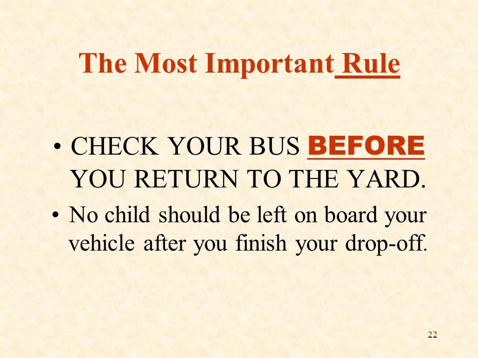 The Most Important Rule