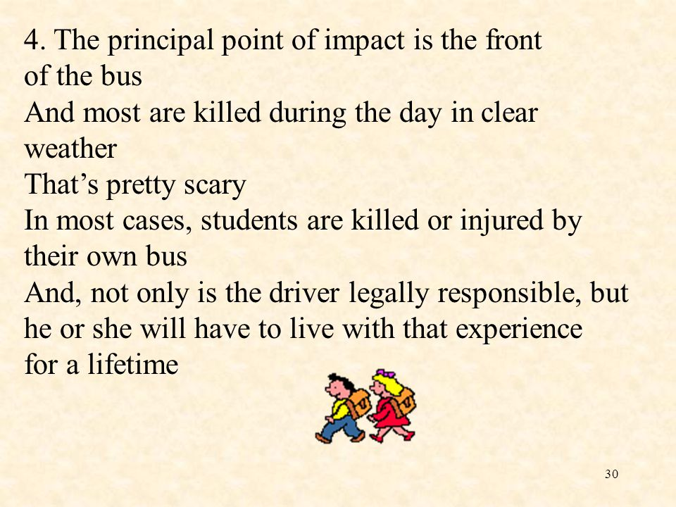4. The principal point of impact is the front