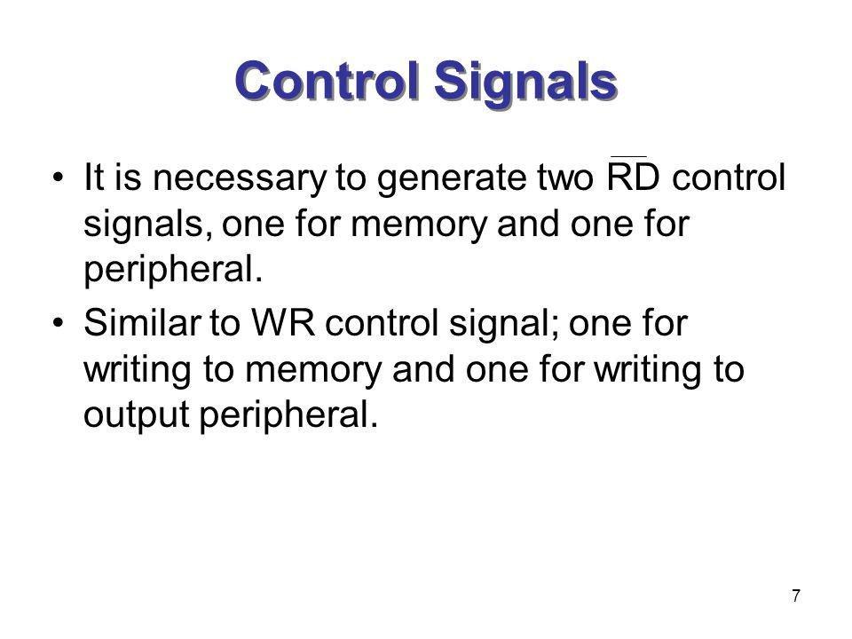 Control Signals It is necessary to generate two RD control signals, one for memory and one for peripheral.