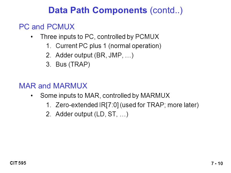 Data Path Components (contd..)