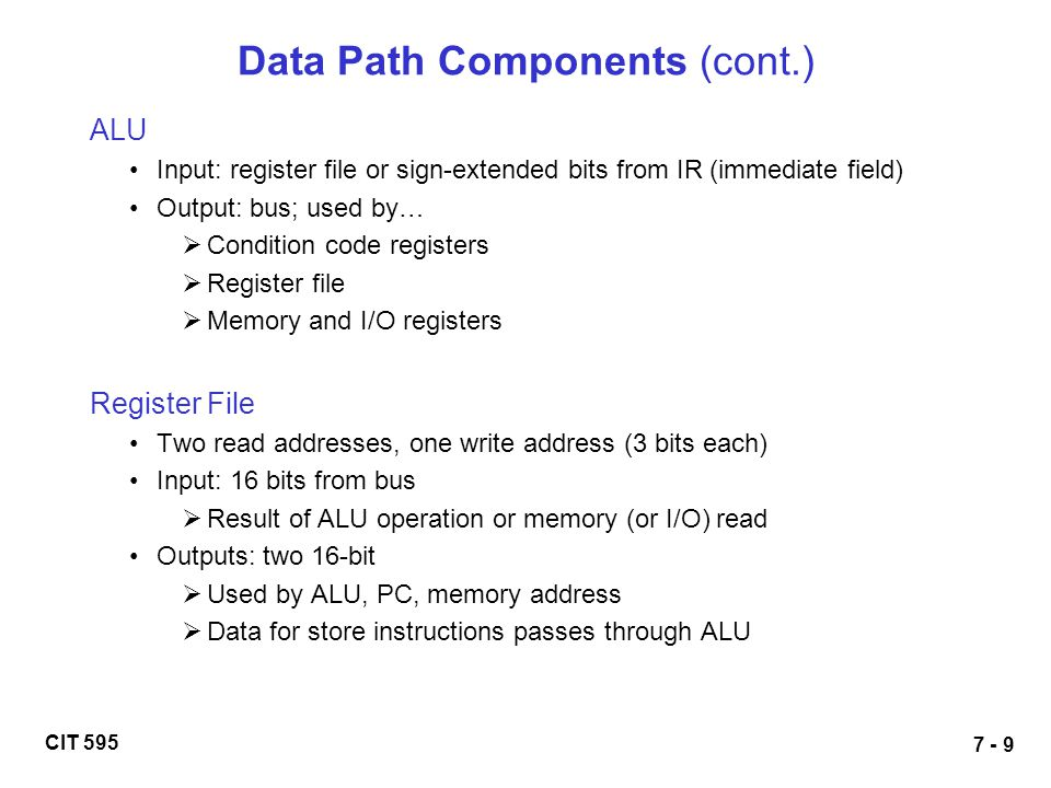 Data Path Components (cont.)