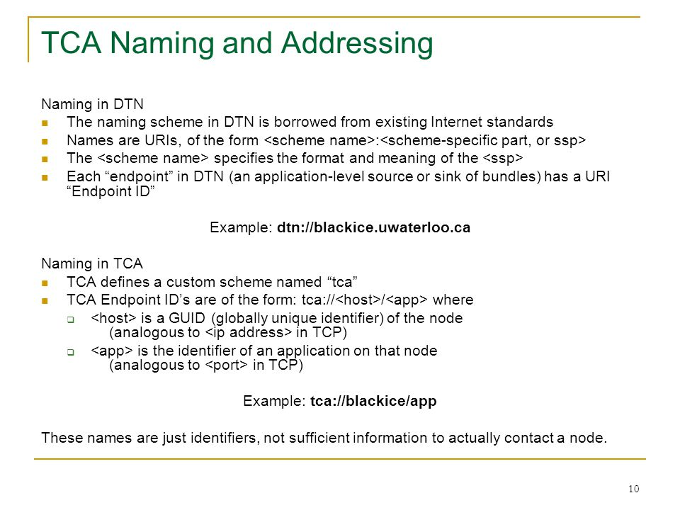 TCA Naming and Addressing