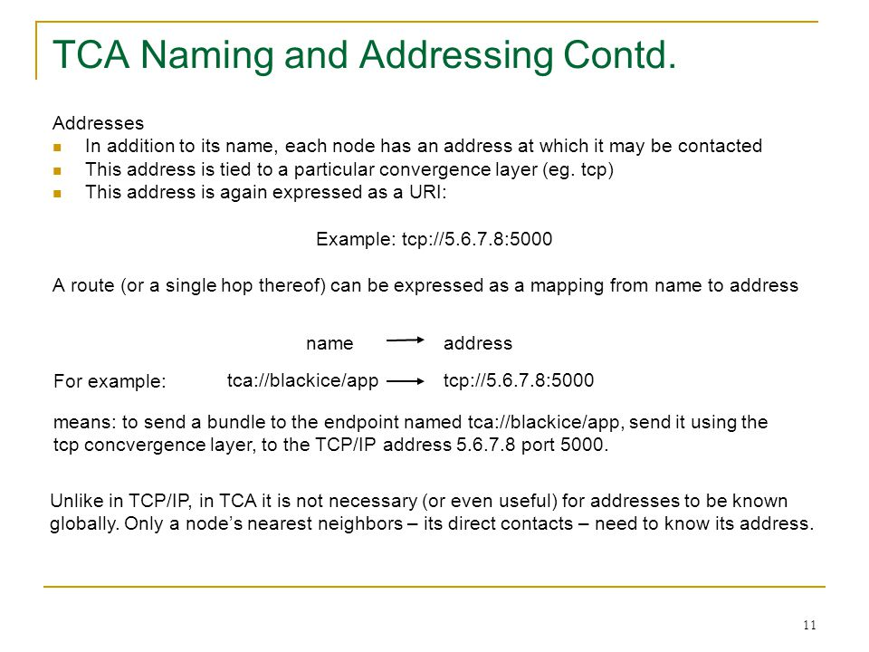 TCA Naming and Addressing Contd.