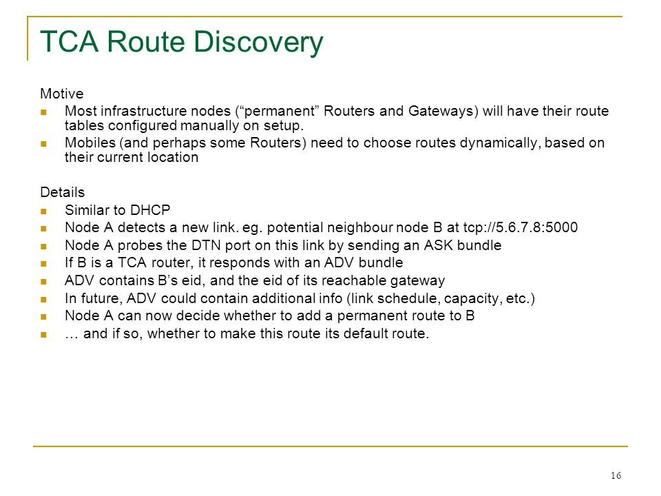 TCA Route Discovery Motive