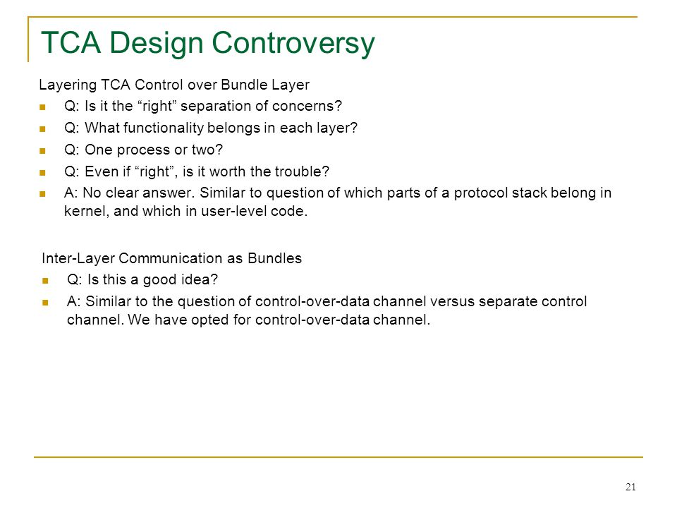 TCA Design Controversy