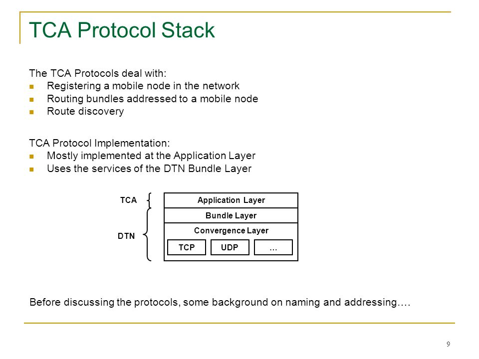TCA Protocol Stack The TCA Protocols deal with: