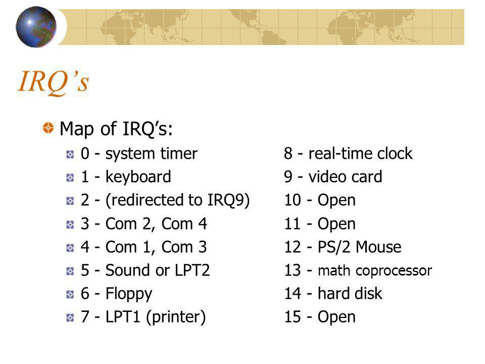 IRQ's Map of IRQ's: 0 - system timer 8 - real-time clock