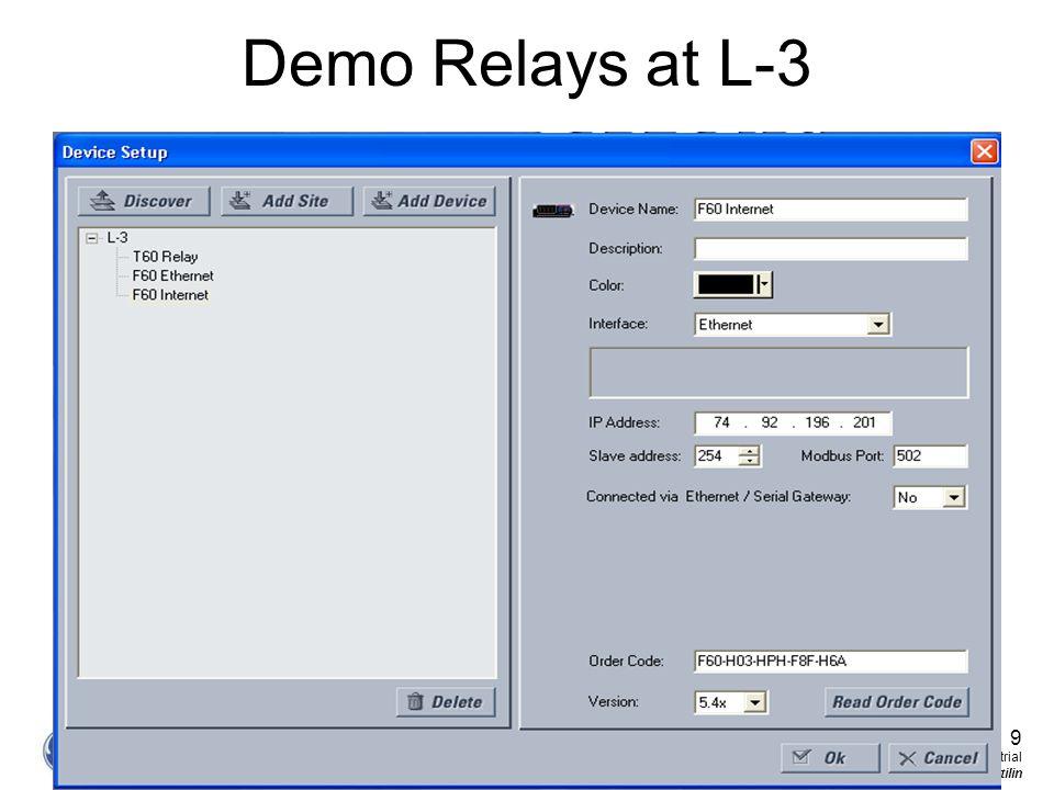 Demo Relays at L-3 9 GE Consumer & Industrial Multilin