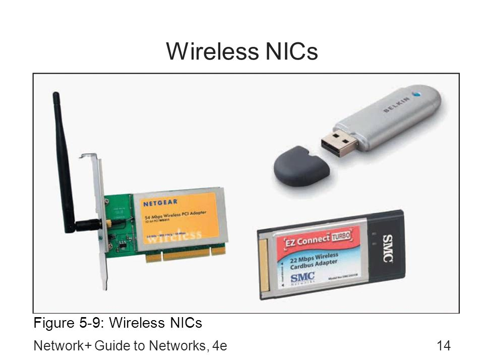Wireless NICs Figure 5-9: Wireless NICs Network+ Guide to Networks, 4e