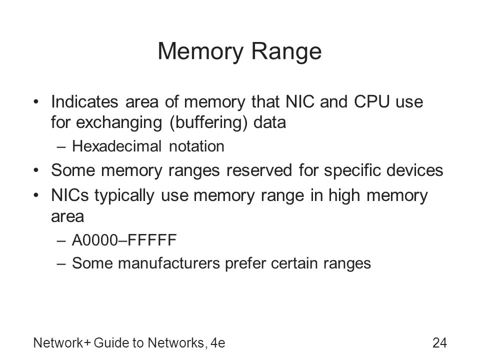 Memory Range Indicates area of memory that NIC and CPU use for exchanging (buffering) data. Hexadecimal notation.