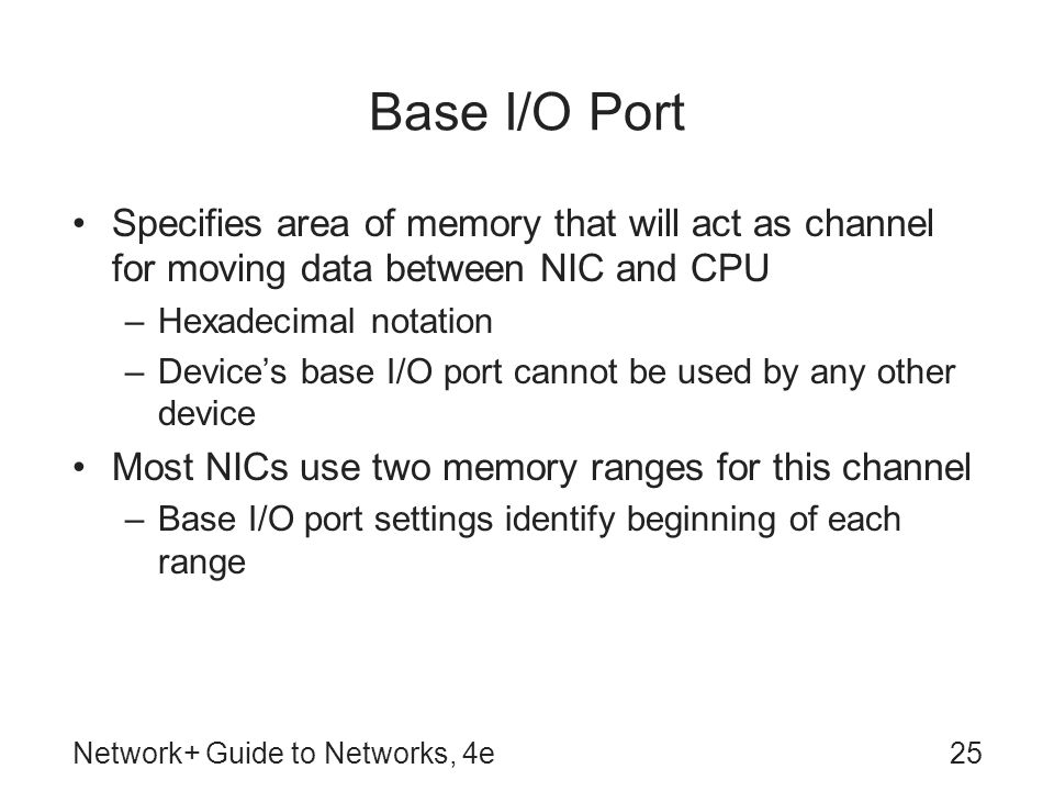 Base I/O Port Specifies area of memory that will act as channel for moving data between NIC and CPU.