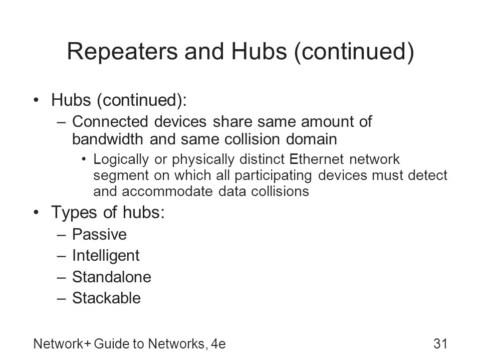 Repeaters and Hubs (continued)