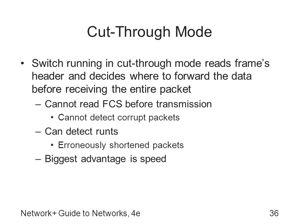 Cut-Through Mode Switch running in cut-through mode reads frame's header and decides where to forward the data before receiving the entire packet.