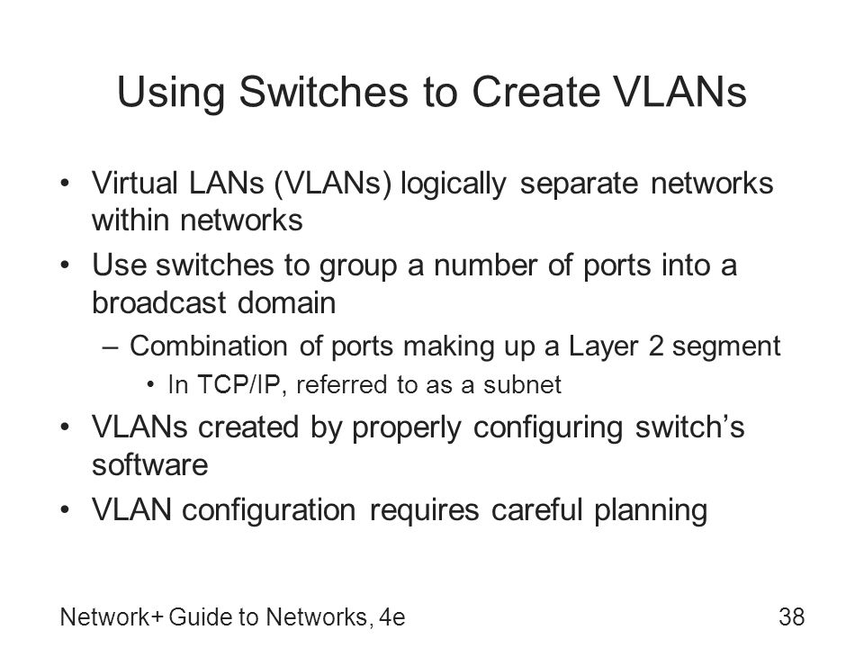 Using Switches to Create VLANs