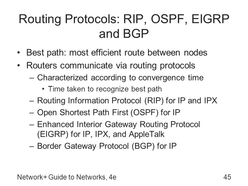 Routing Protocols: RIP, OSPF, EIGRP and BGP