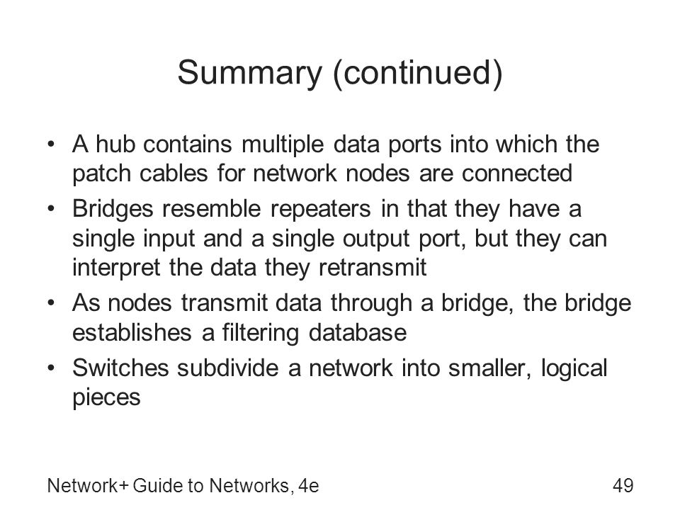 Summary (continued) A hub contains multiple data ports into which the patch cables for network nodes are connected.