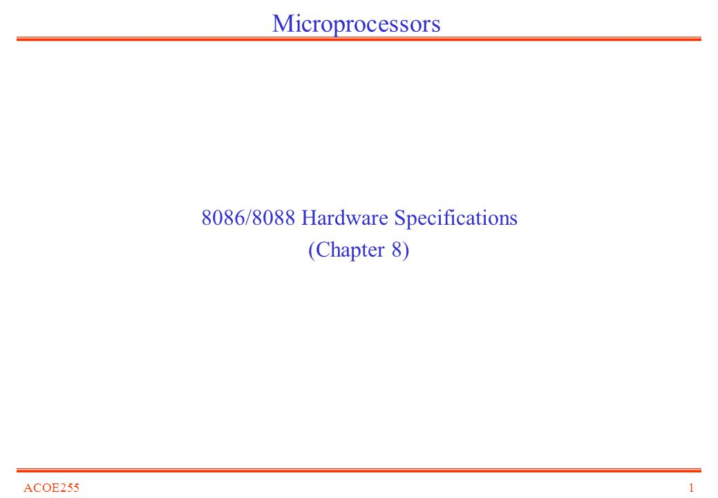 8086/8088 Hardware Specifications (Chapter 8)