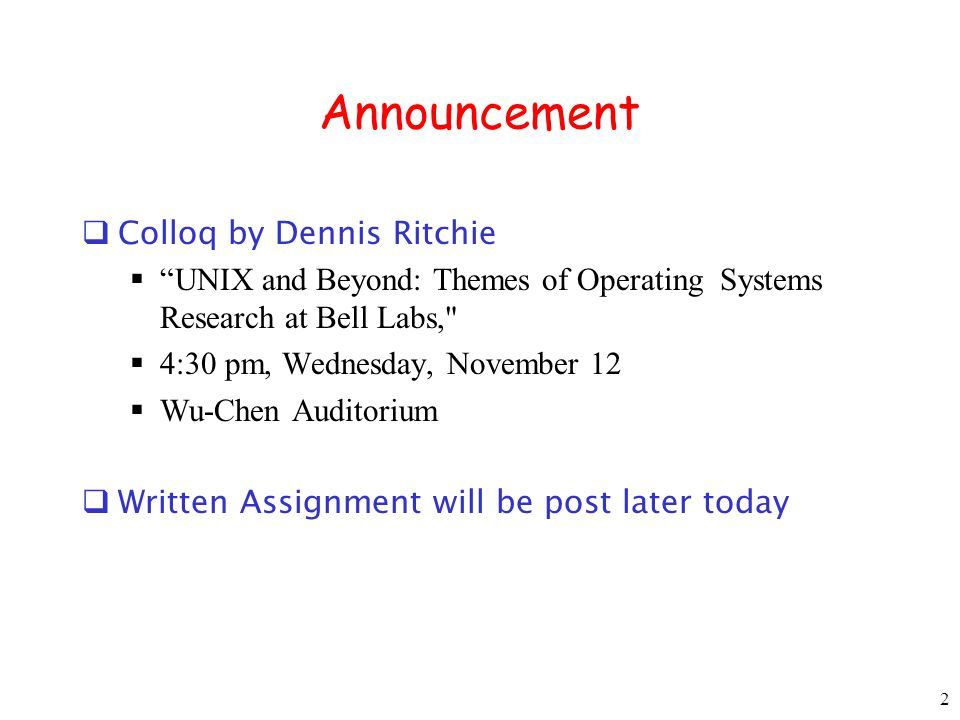 Announcement Colloq by Dennis Ritchie