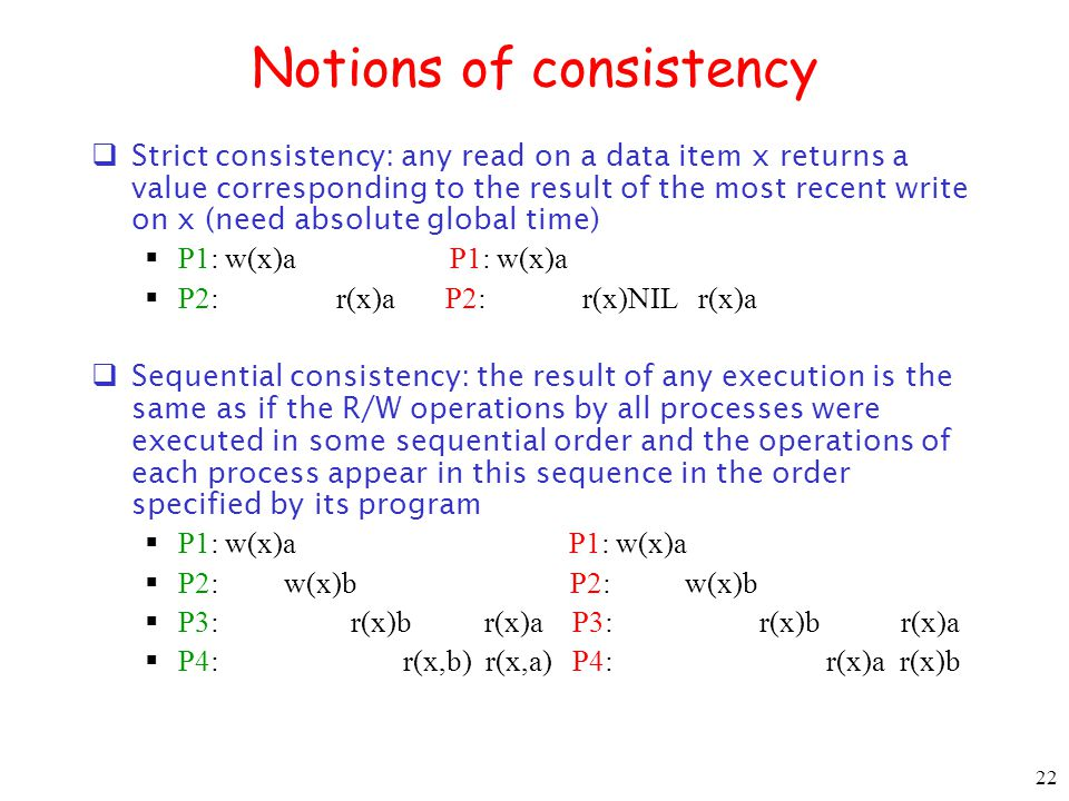Notions of consistency