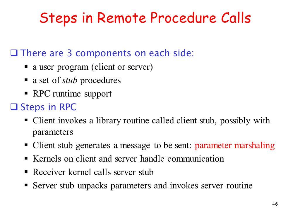Steps in Remote Procedure Calls