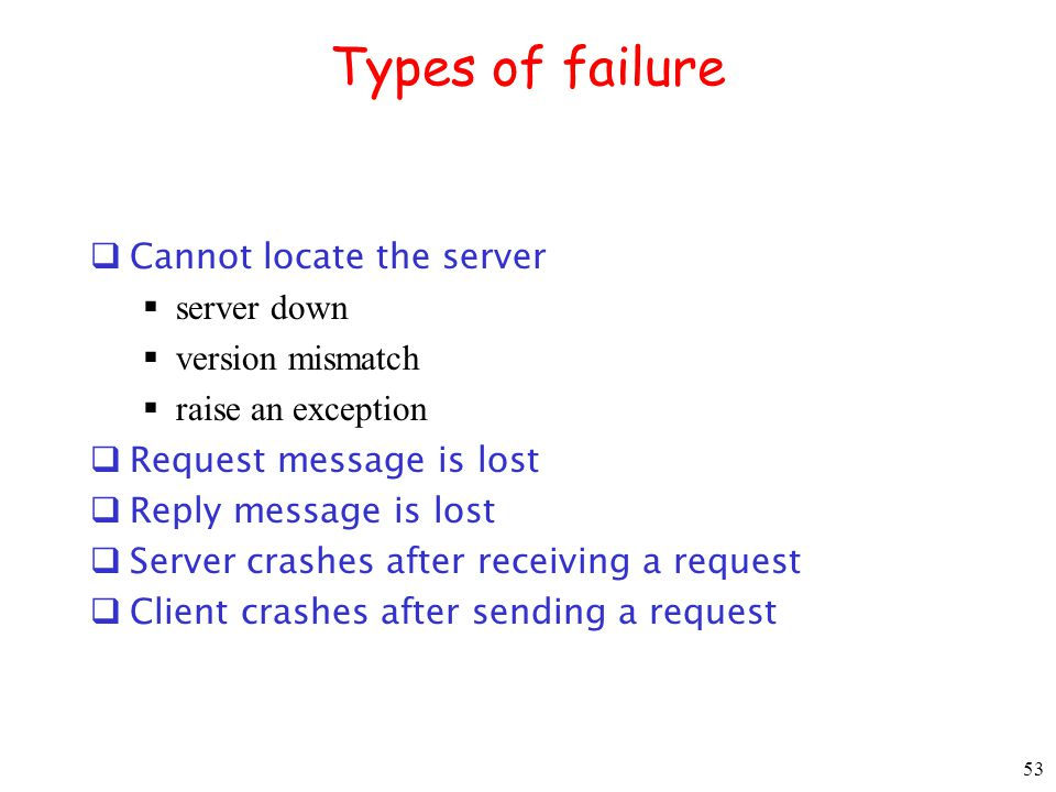 Types of failure Cannot locate the server server down version mismatch