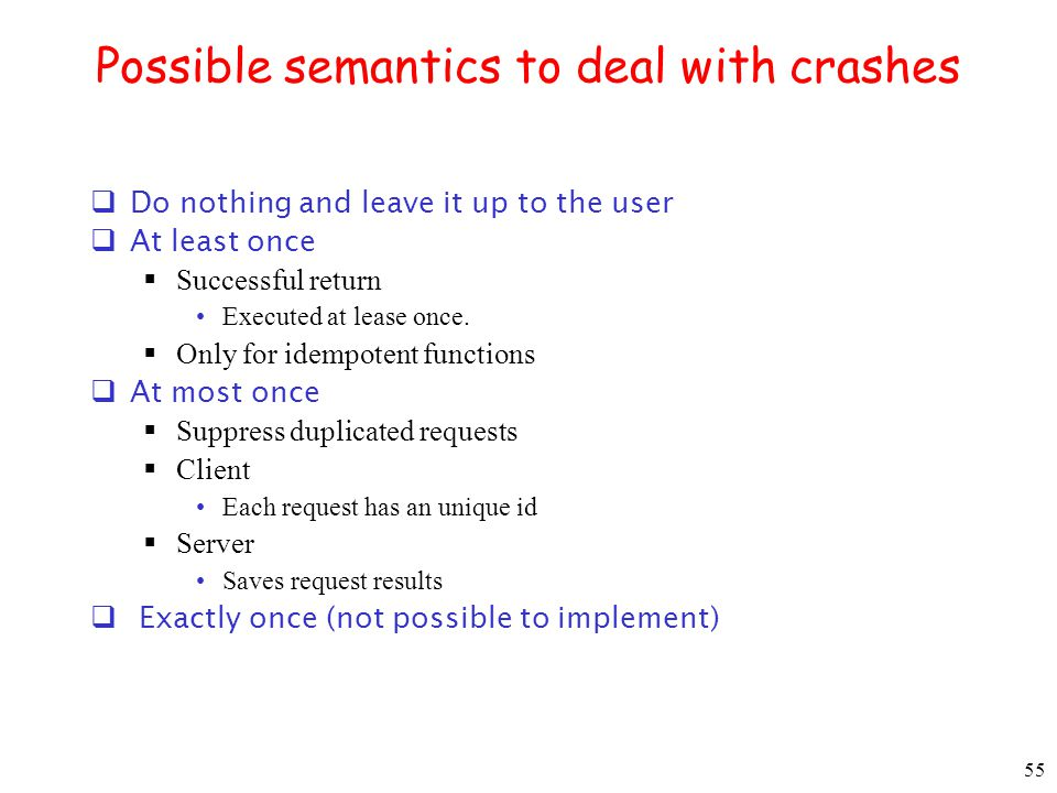 Possible semantics to deal with crashes