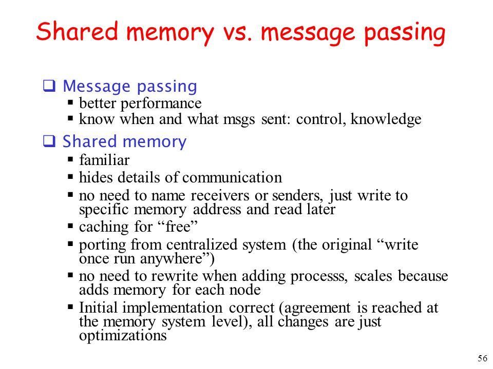 Shared memory vs. message passing